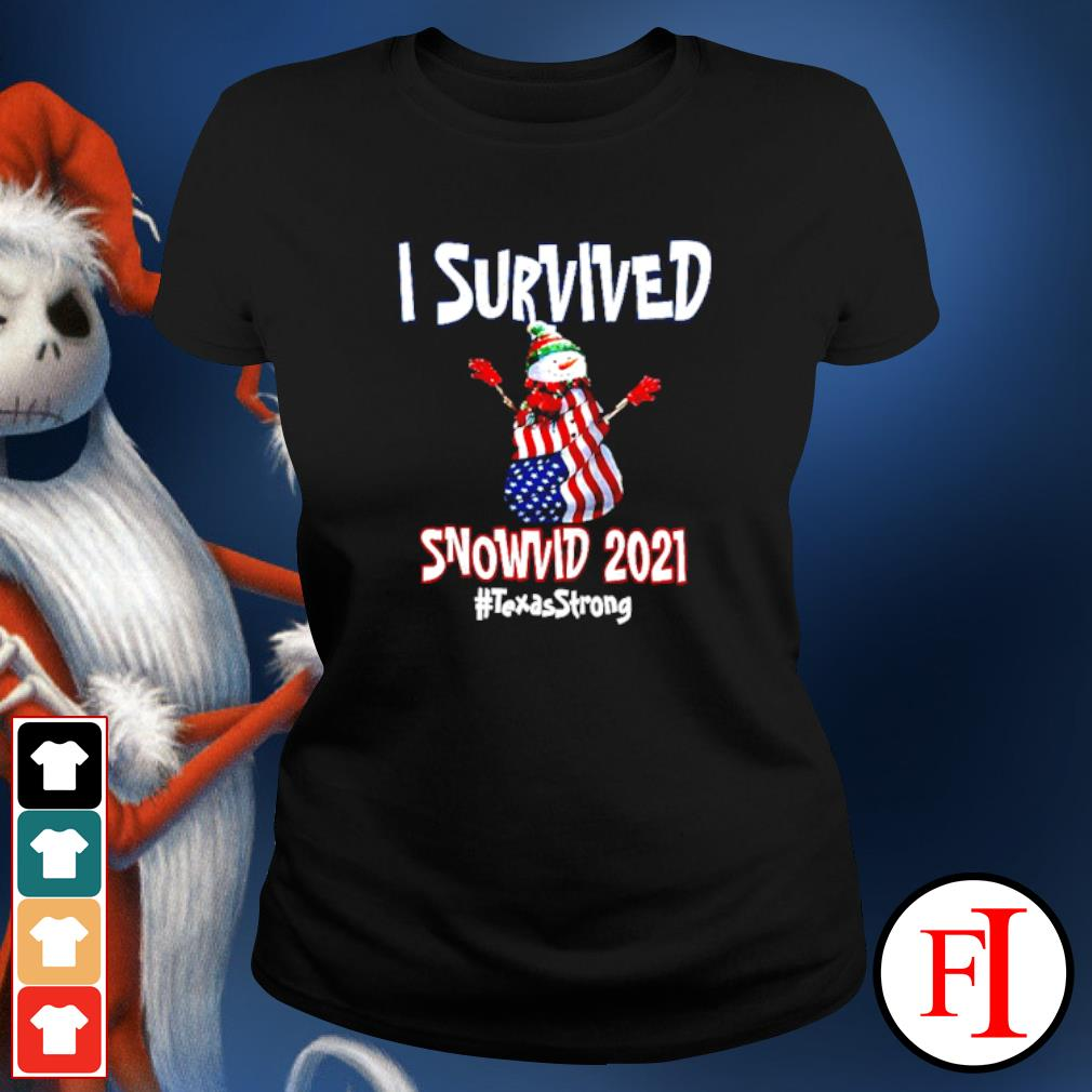 I Survived Snowvid 2021 Texas Raglan Baseball ladies-tee