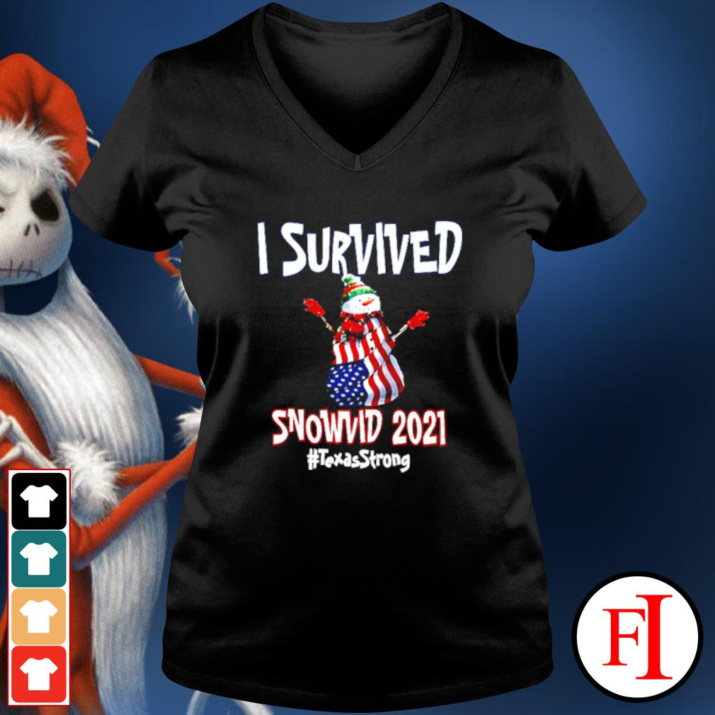 I Survived Snowvid 2021 Texas Raglan Baseball v-neck-t-shirt