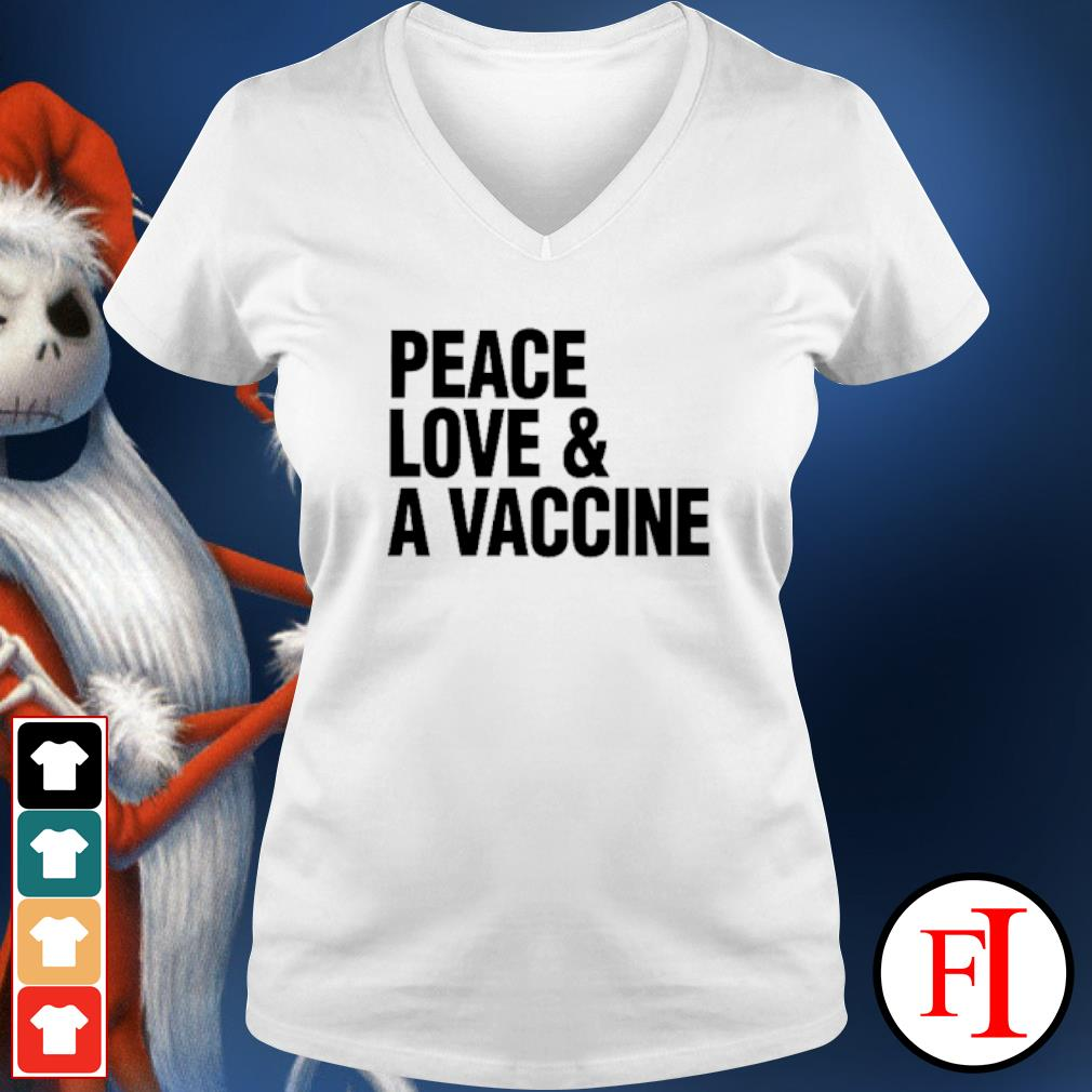 Peace love and a vaccine v-neck-t-shirt