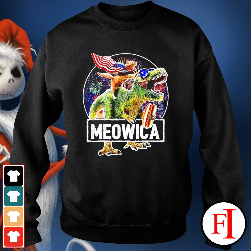 Cat riding Dinosaur Meowica 4th of July sweater