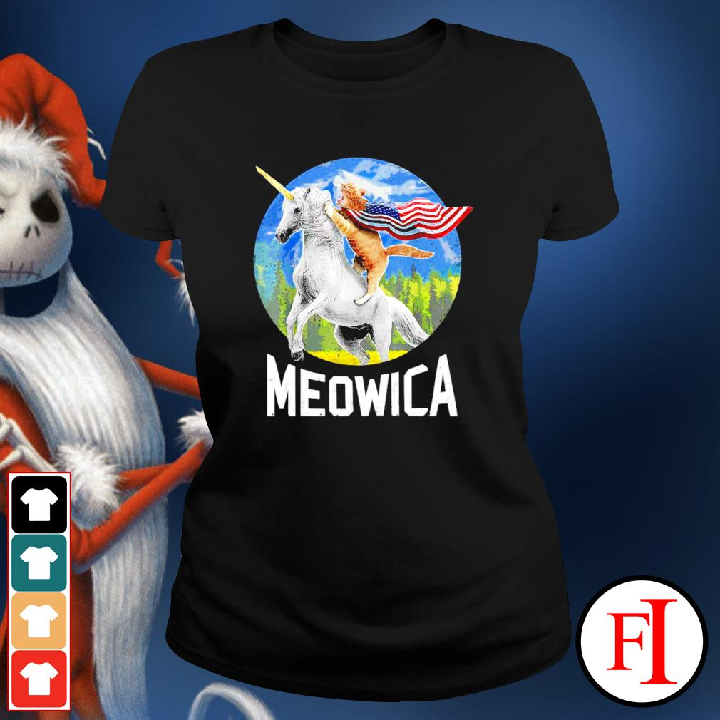 Cat riding Unicorn Meowica 4th of July ladies-tee
