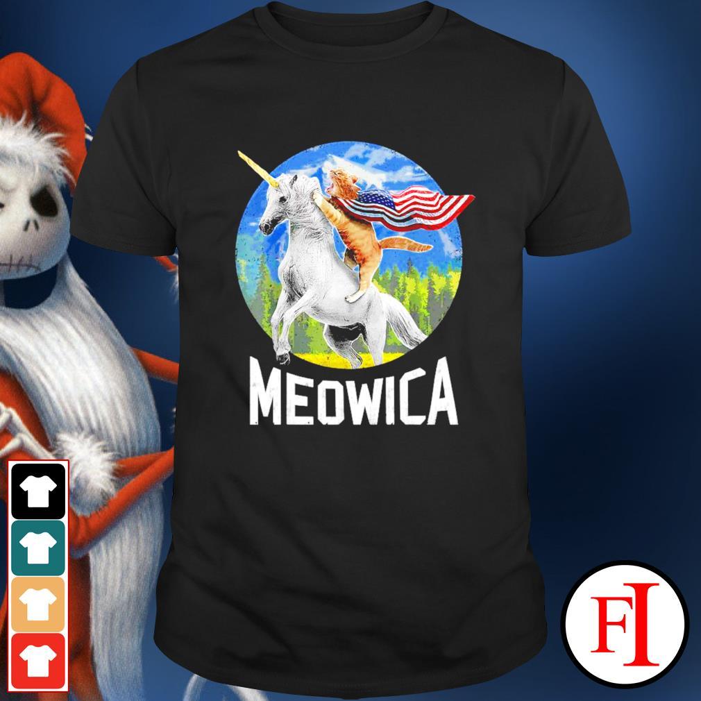 Cat riding Unicorn Meowica 4th of July shirt