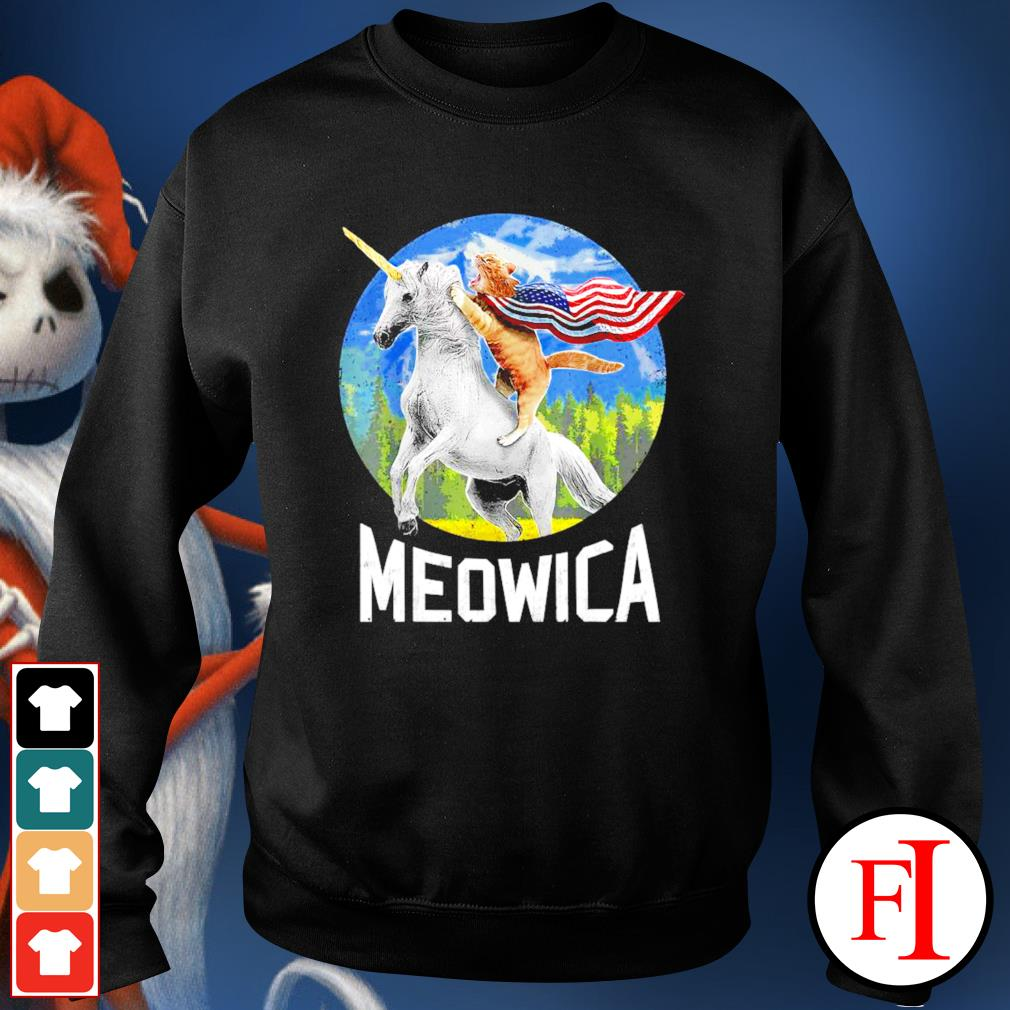 Cat riding Unicorn Meowica 4th of July sweater