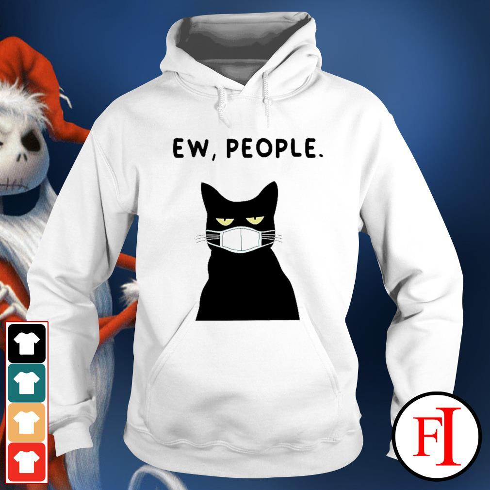 Ew people black cat face mask hoodie