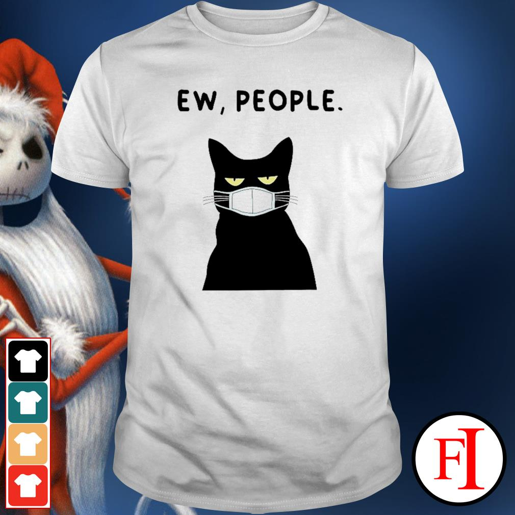 Ew people black cat face mask shirt