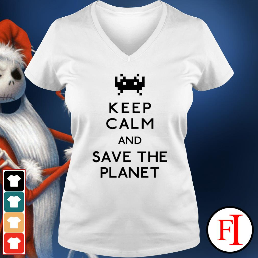 Keep calm and save the planet v-neck-t-shirt