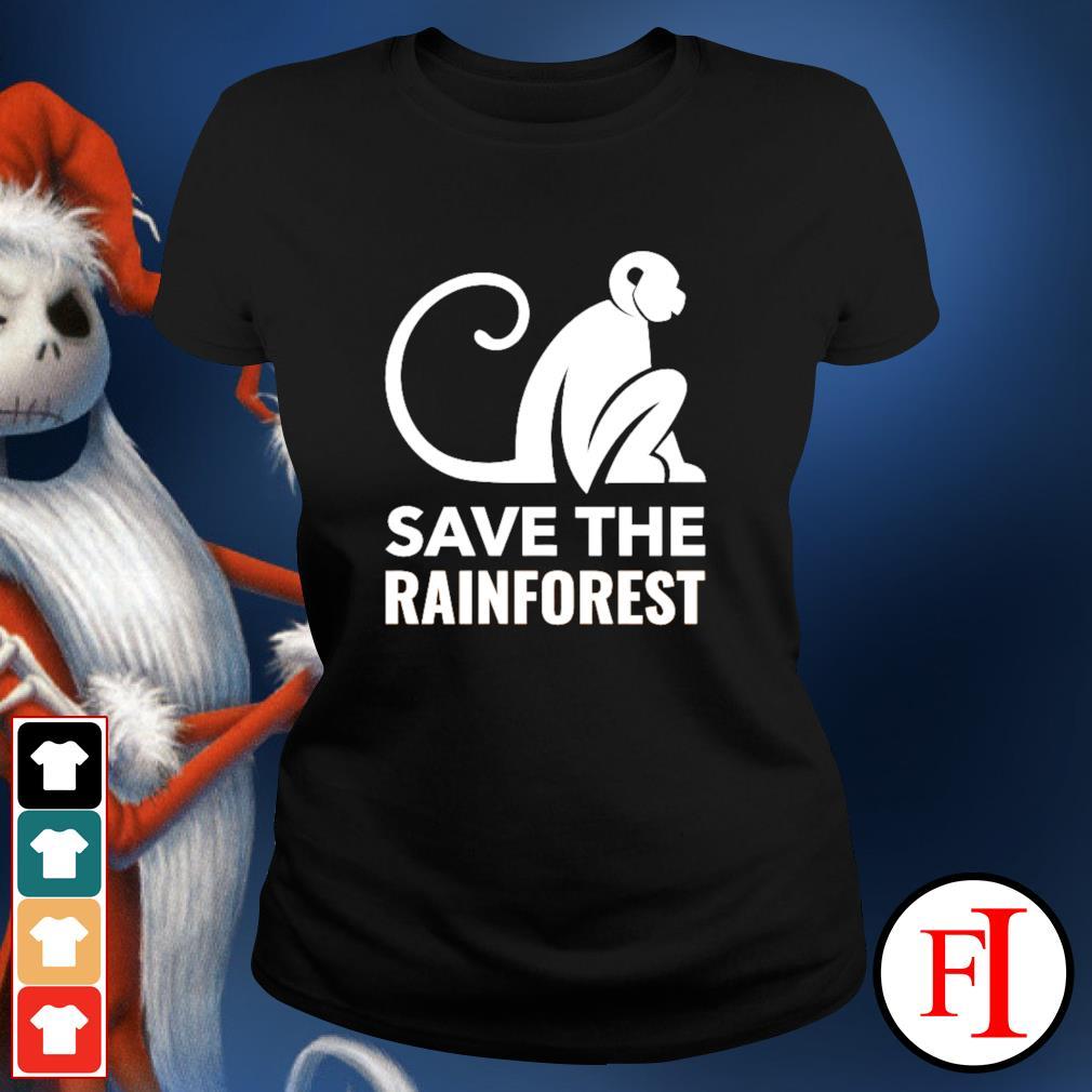 Monkey save the rainforest ladies-tee