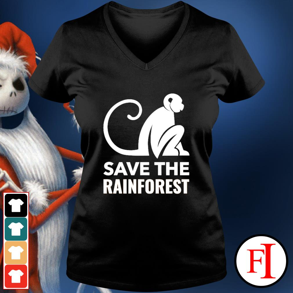 Monkey save the rainforest v-neck-t-shirt