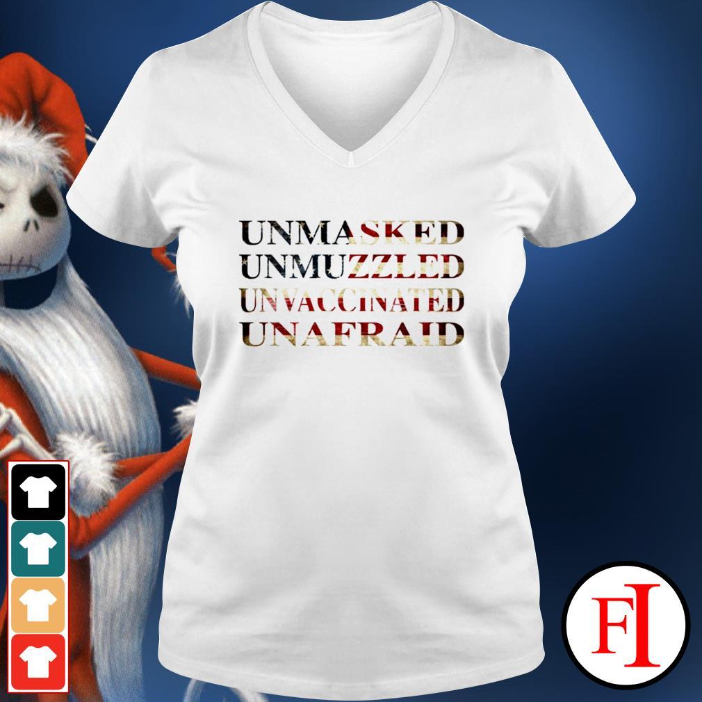 Unmasked unmuzzled unvaccinated unafraid v-neck-t-shirt