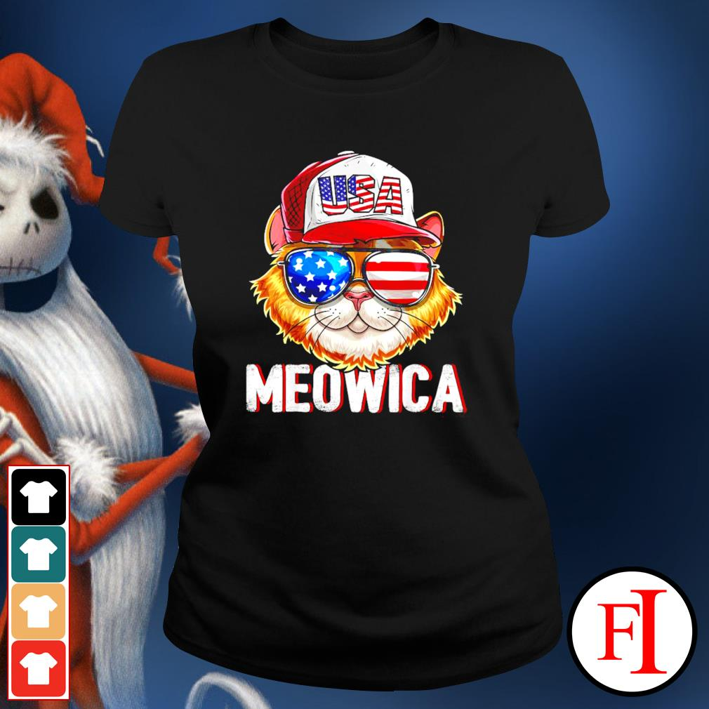 USA Cat Meowica independence day 4th of July ladies-tee
