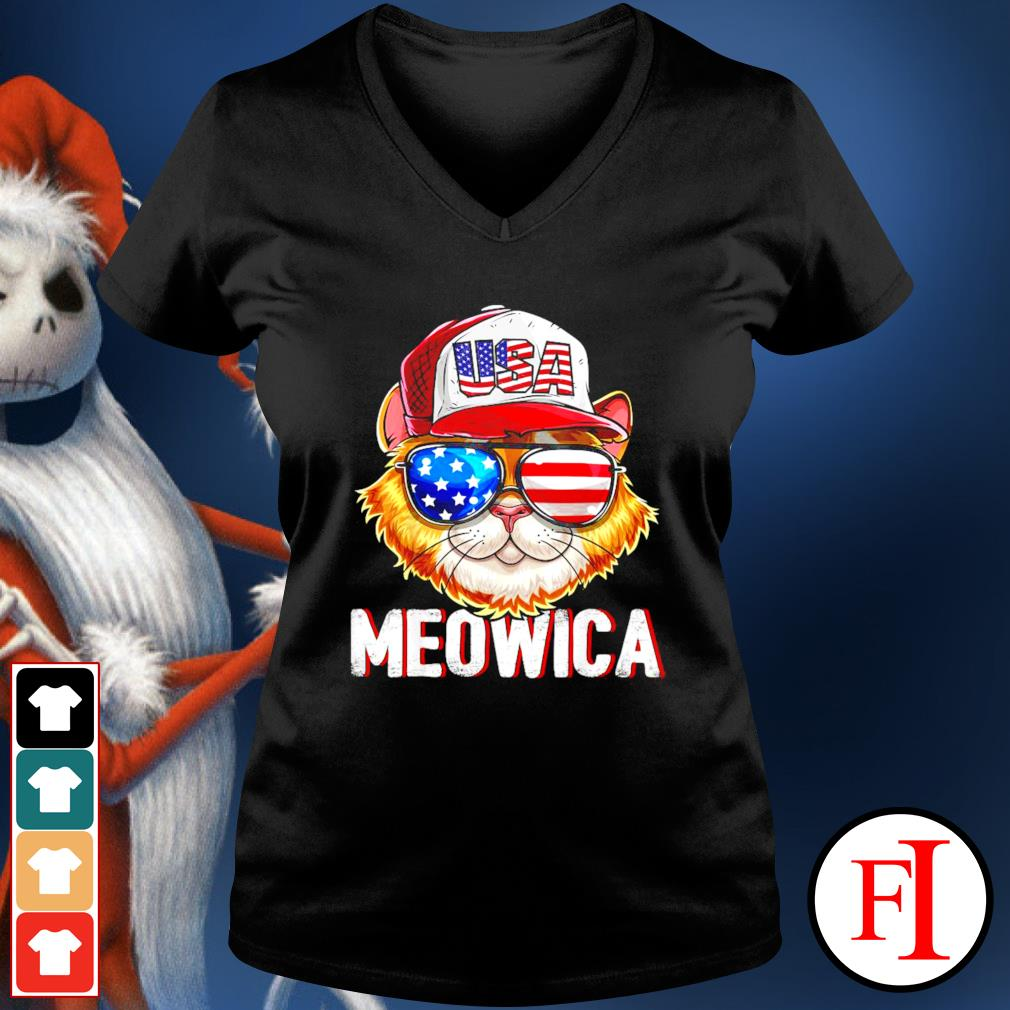 USA Cat Meowica independence day 4th of July v-neck-t-shirt