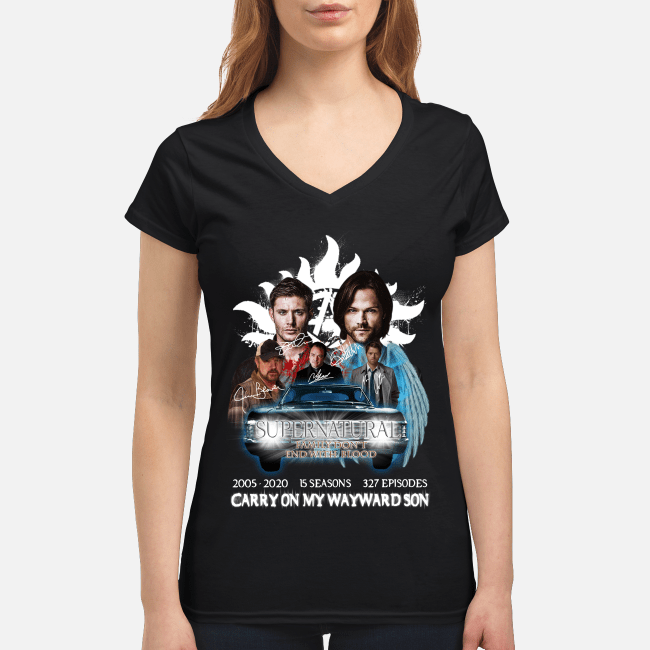 15 seasons 327 episodes carry Supernatural 2005-2020 on my wayward son V-neck t-shirt