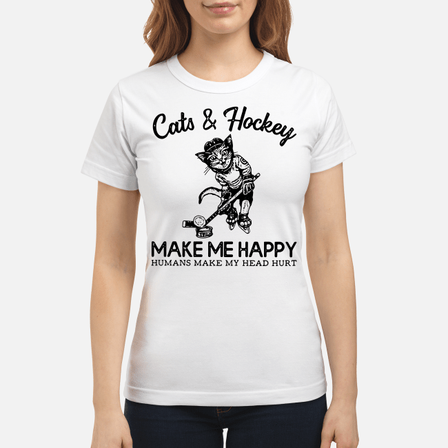 Official Cats and Hockey make me happy humans make my head hurt Ladies Tee
