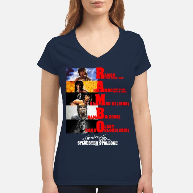 Official Rambo all season Sylvester Stallone signature V-neck t-shirt