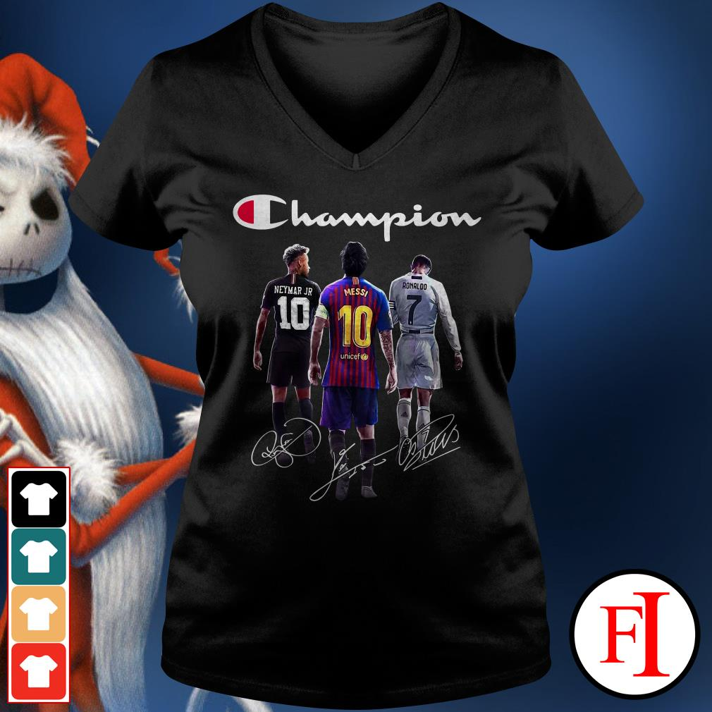 Champion Neymar Jr Lionel Messi Cristiano Ronaldo V-neck t-shirt