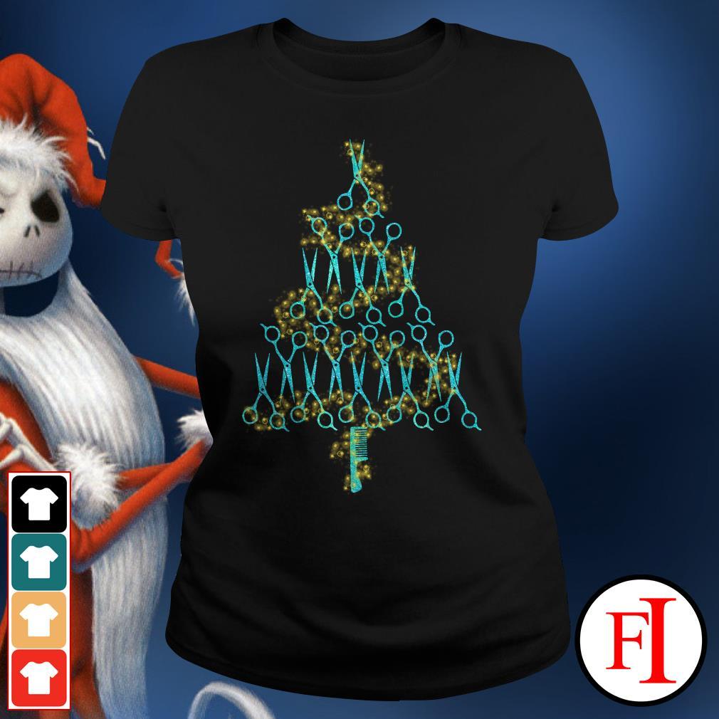 Christmas tree Hairstylist scissors Ladies Tee