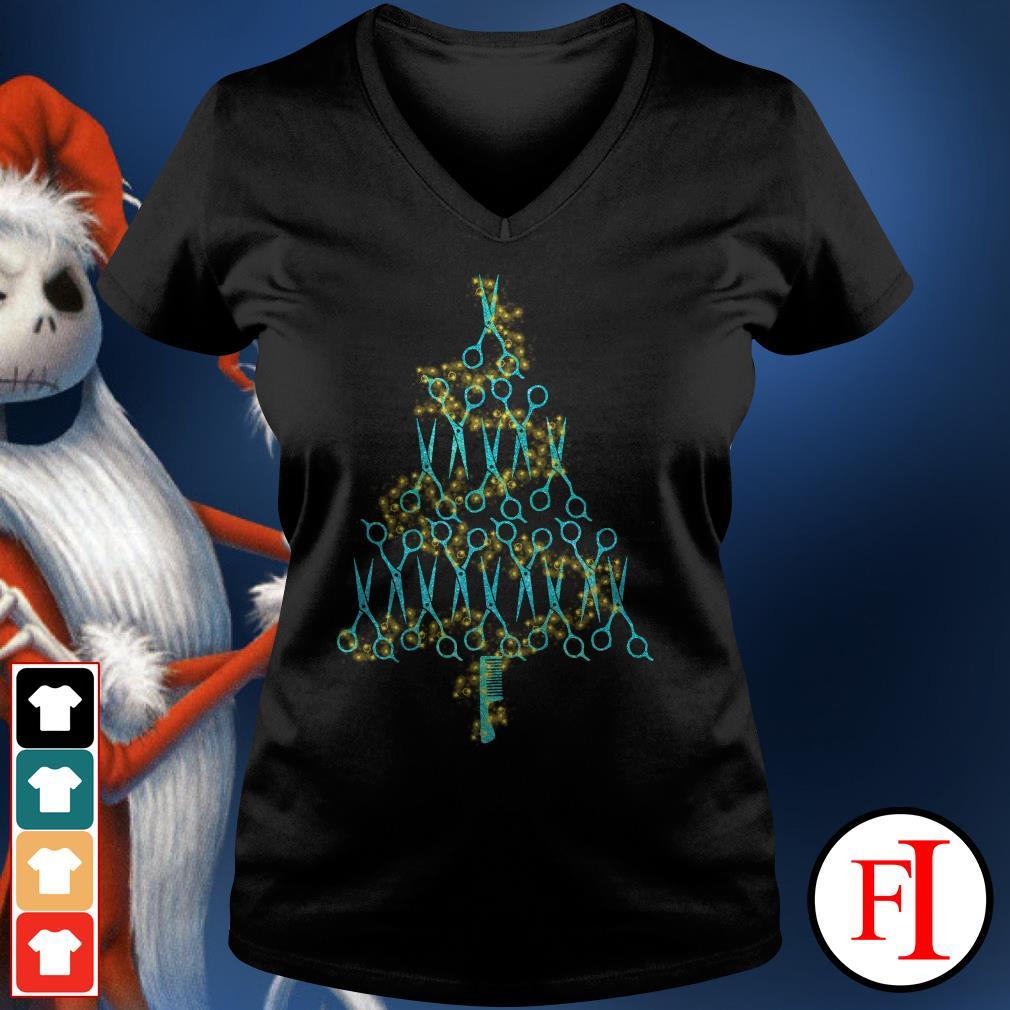 Christmas tree Hairstylist scissors V-neck t-shirt