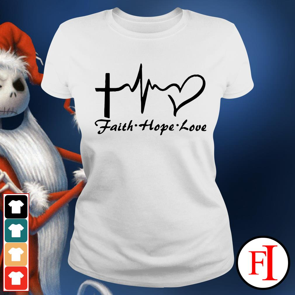 Faith hope love Cross heartbeat Ladies Tee