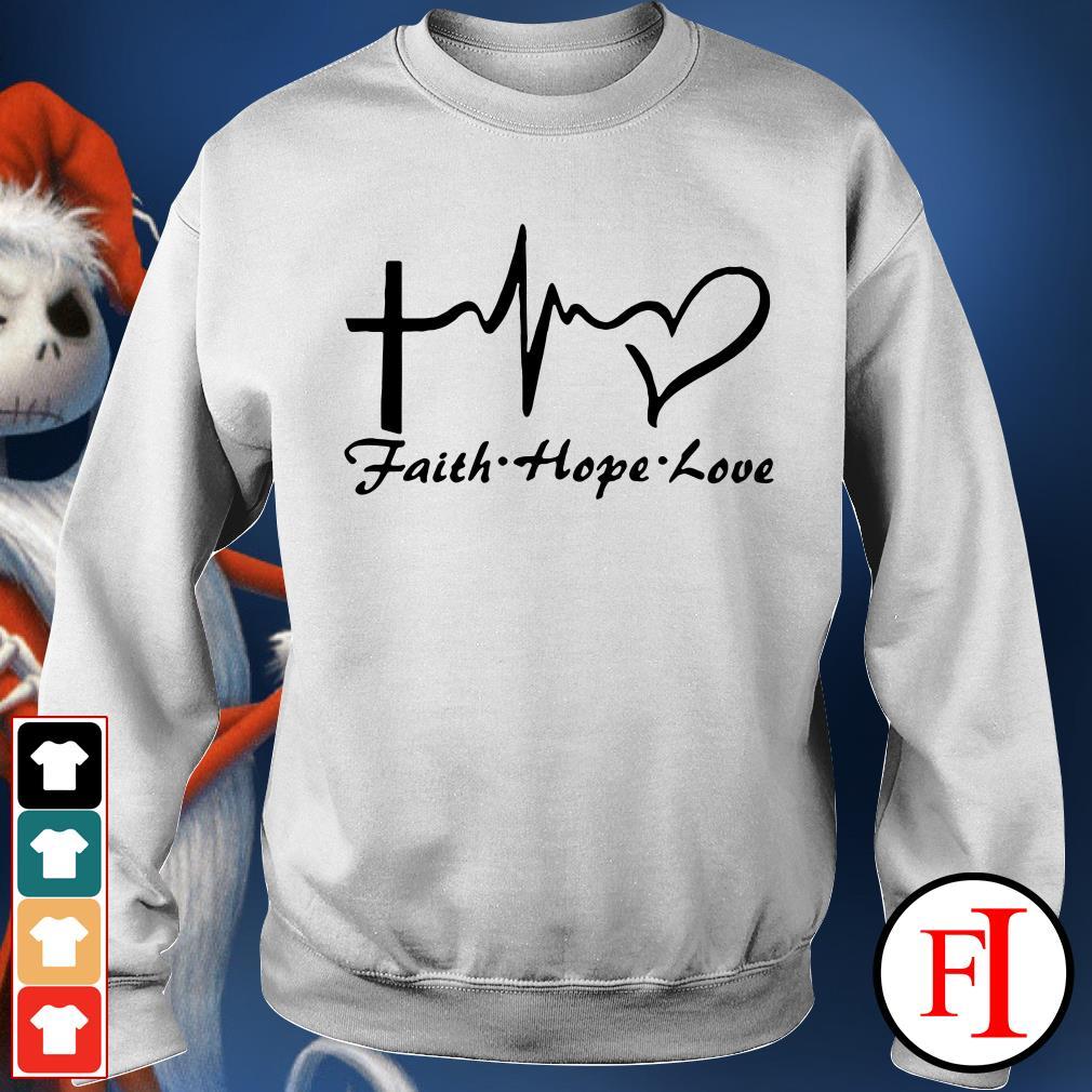 Faith hope love Cross heartbeat Sweater