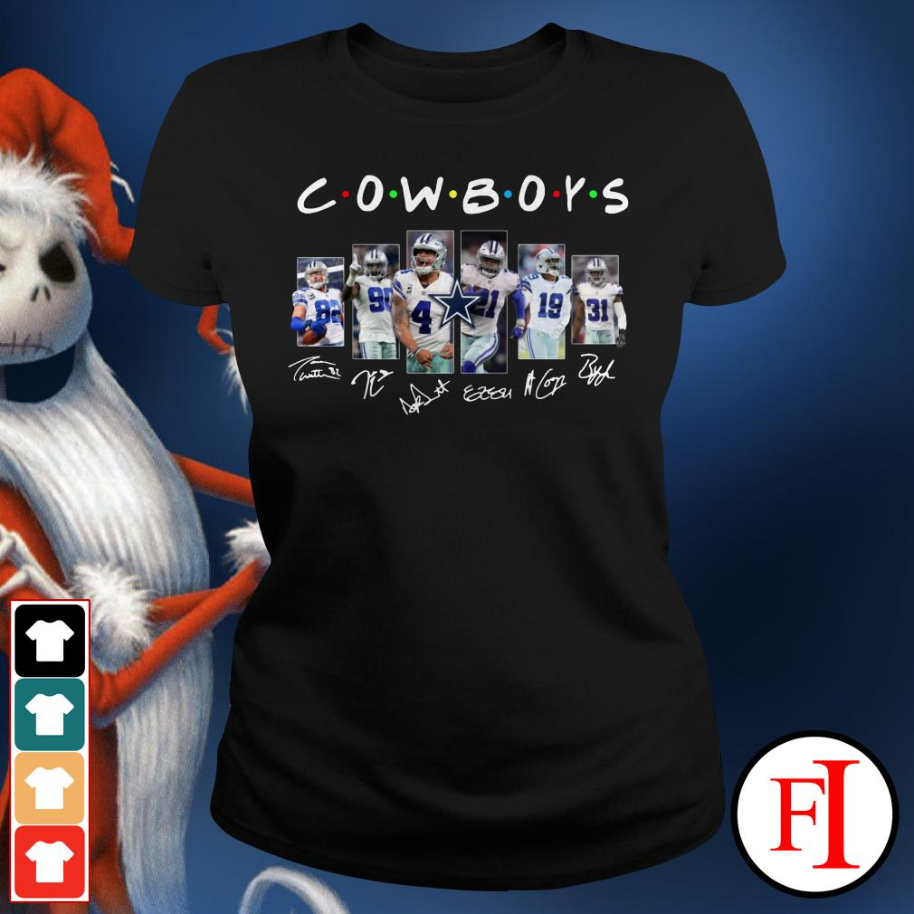 Friends TV show Dallas Cowboys signatures Ladies Tee