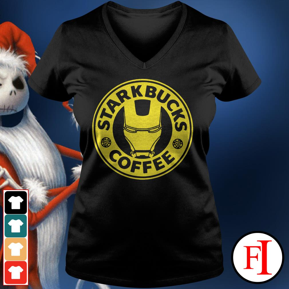 Iron man Starkbucks Coffee V-neck t-shirt