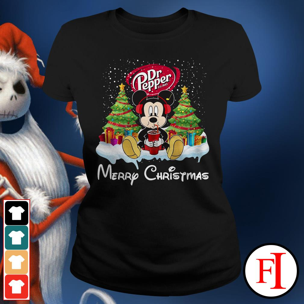 Merry Christmas Mickey Mouse drink Dr Pepper Ladies Tee