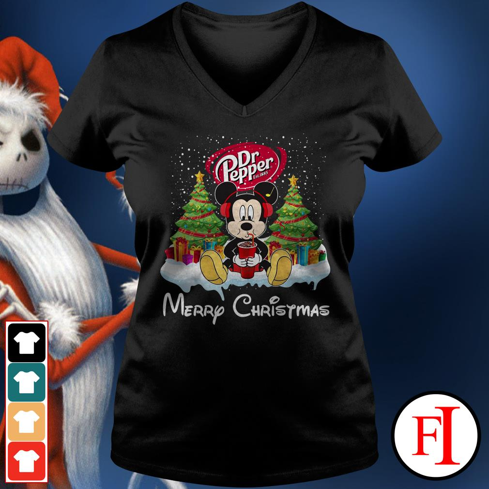 Merry Christmas Mickey Mouse drink Dr Pepper V-neck t-shirt