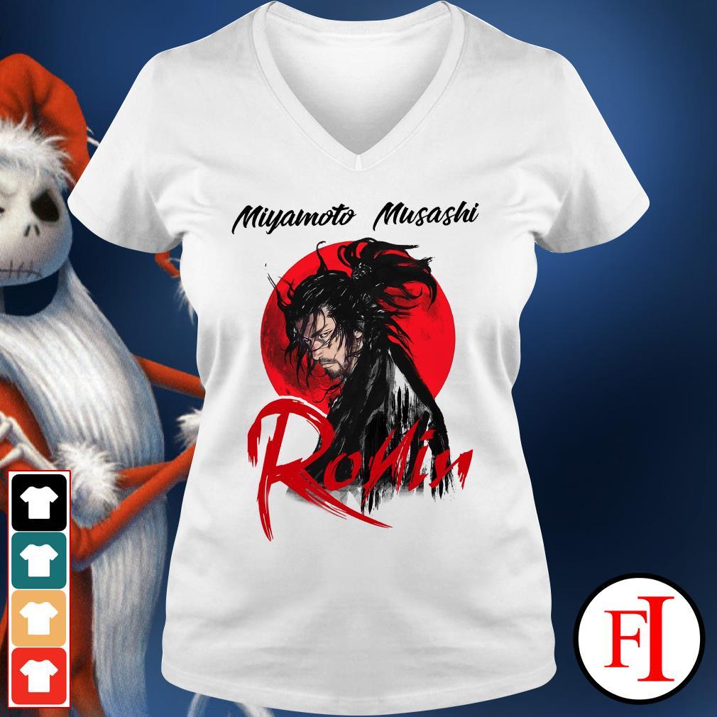 Musashi ronin Red moon Miyamoto V-neck t-shirt