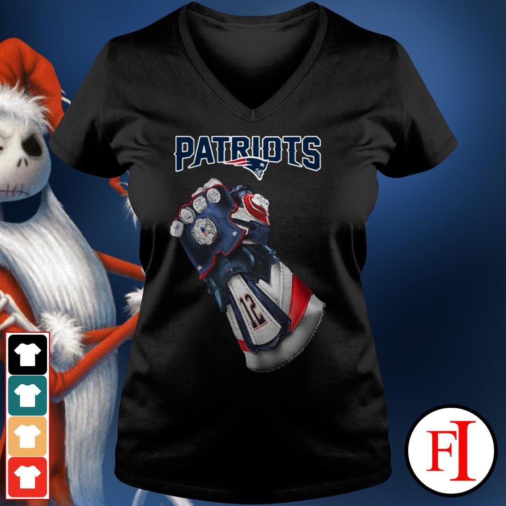New England Patriots Infinity Gauntlet V-neck t-shirt