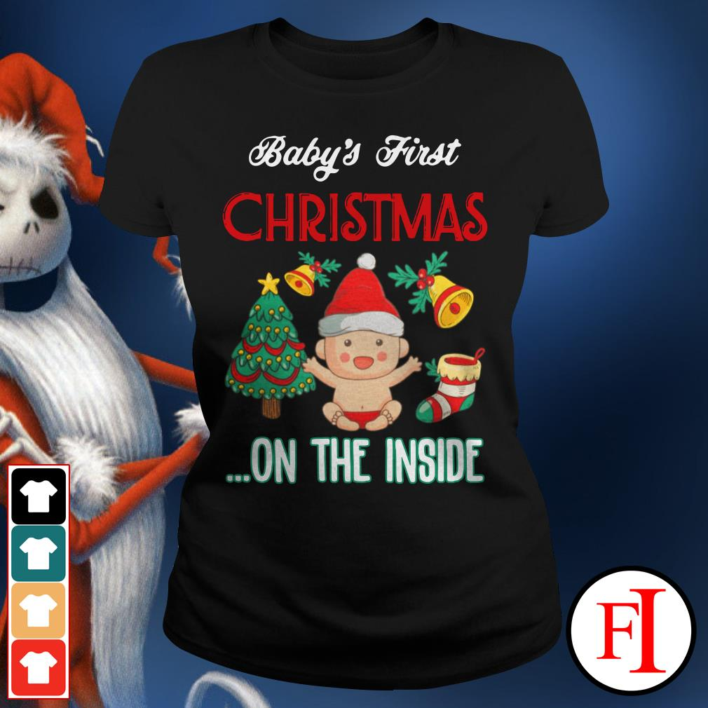 Official Baby's first Christmas on the inside Ladies Tee