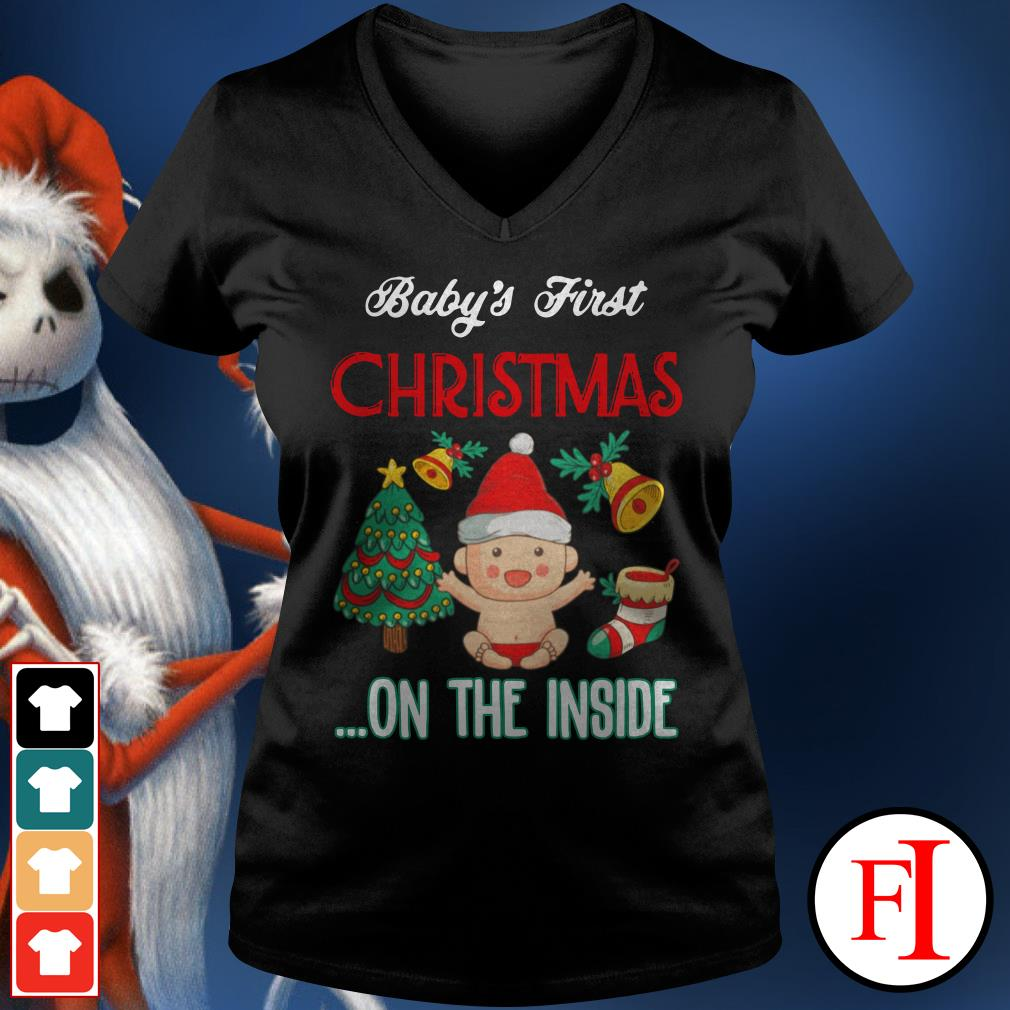 Official Baby's first Christmas on the inside V-neck t-shirt