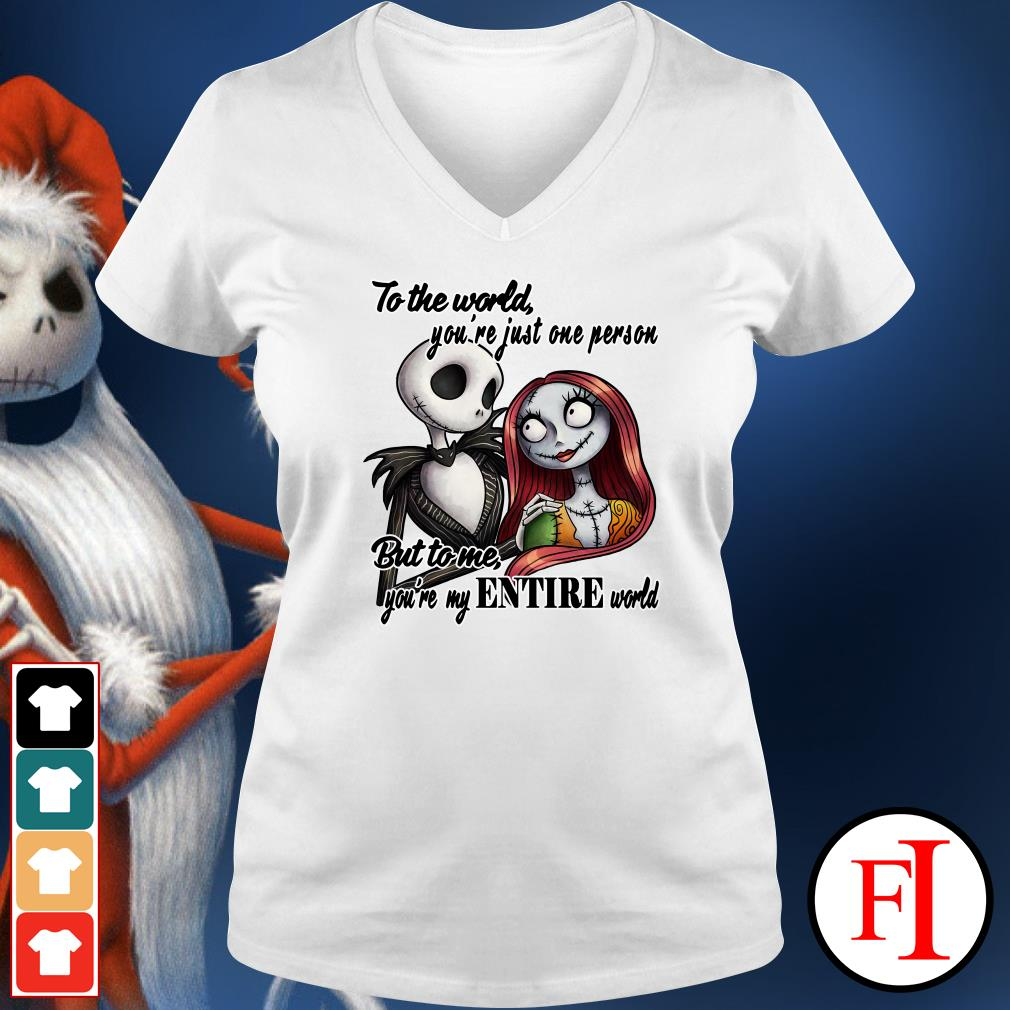Official Jack Skellington to the world you're just one person but to me you're my entire world V-neck t-shirt