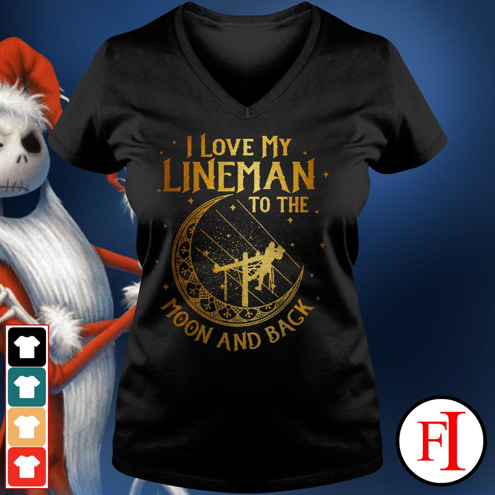 Official I love my lineman to the moon and back V-neck t-shirt