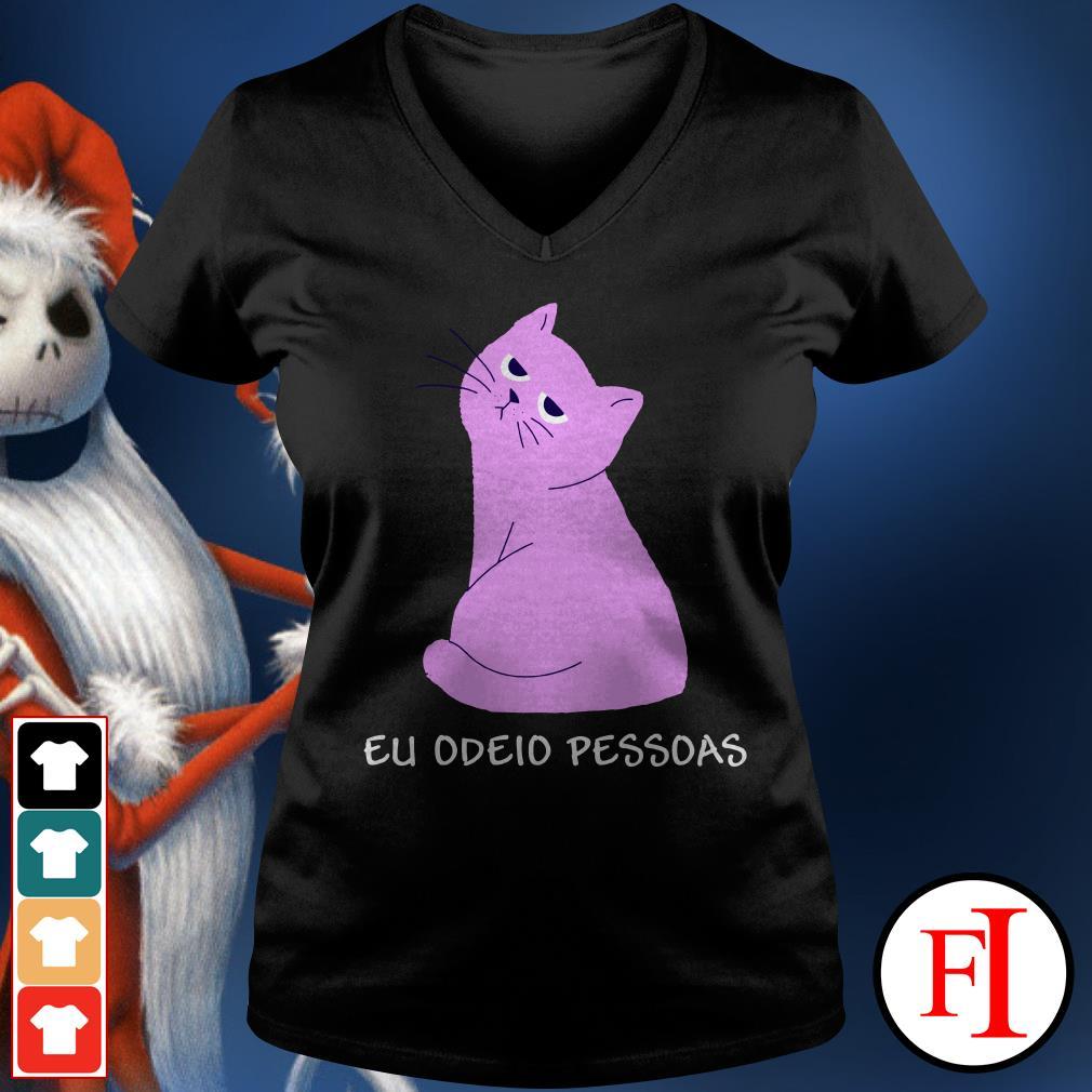 Official Pink cat eu odeid pessdas V-neck t-shirt