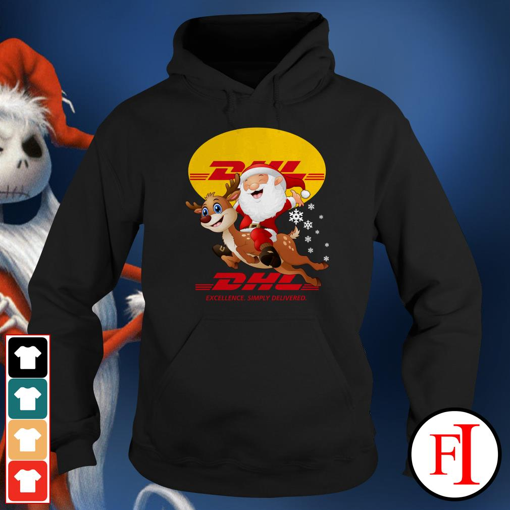 Official Santa Claus Riding Reindeer DHL Excellence Simply Delivered Hoodie