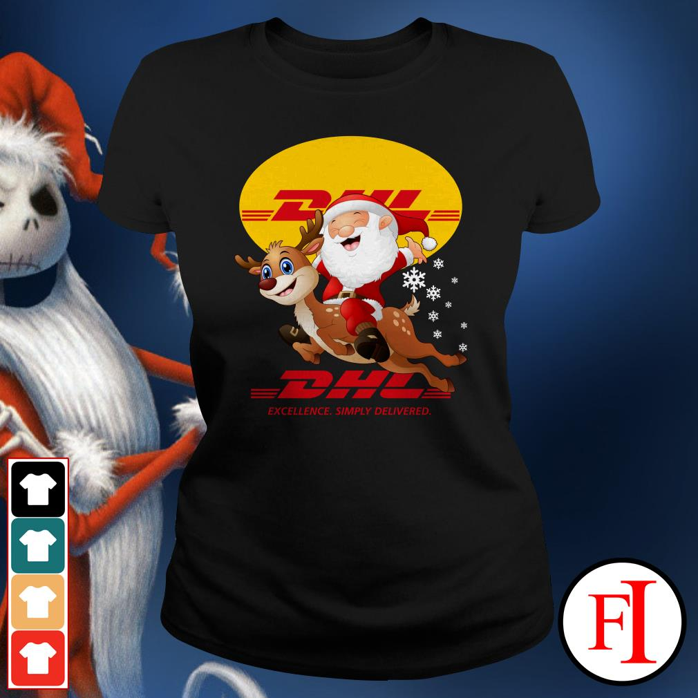 Official Santa Claus Riding Reindeer DHL Excellence Simply Delivered Ladies Tee