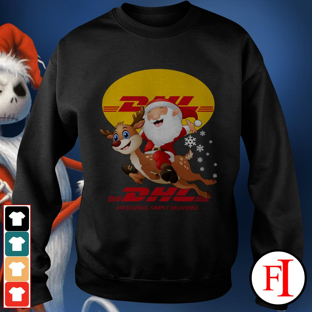 Official Santa Claus Riding Reindeer DHL Excellence Simply Delivered Sweater
