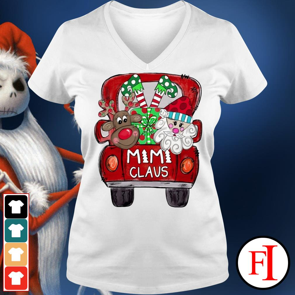 Santa Claus Christmas truck Mimi Claus V-neck t-shirt