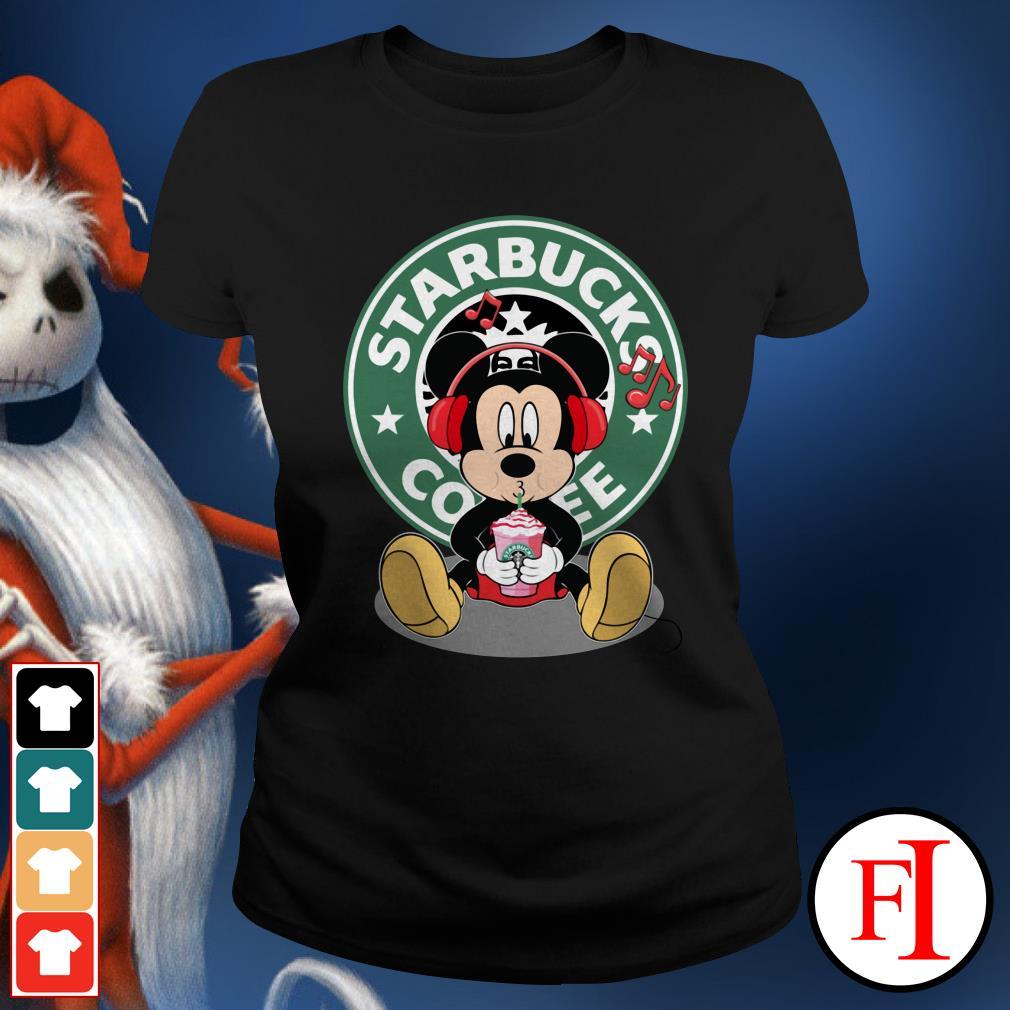 Starbucks coffee Mickey listening to music drink Ladies Tee
