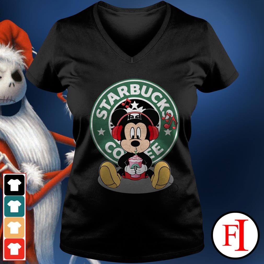 Starbucks coffee Mickey listening to music drink V-neck t-shirt