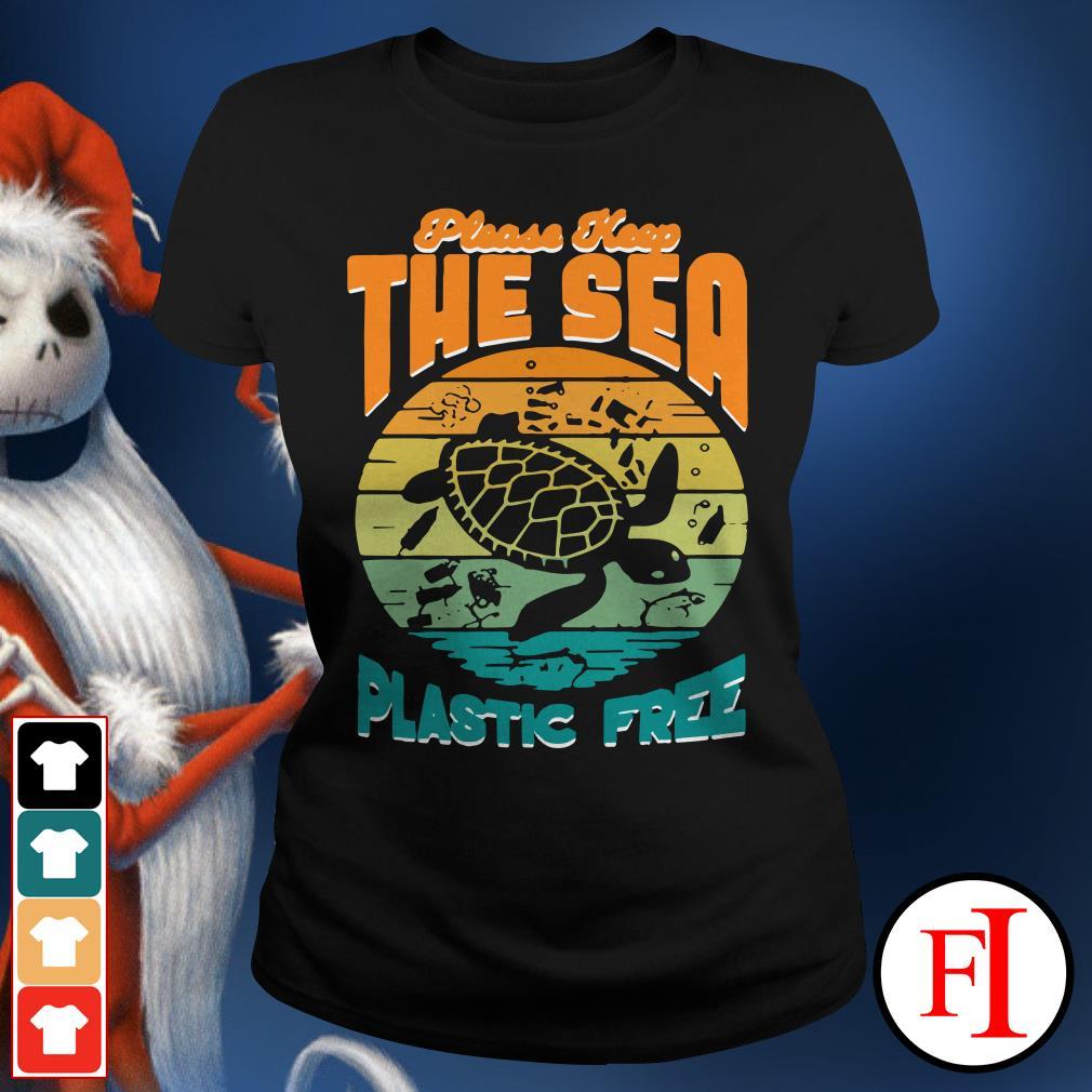 Turtle please keep the sea plastic free sunset Ladies Tee