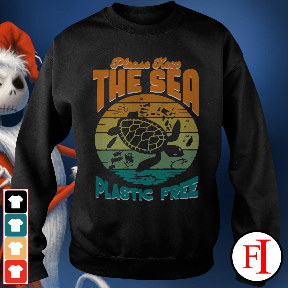 Turtle please keep the sea plastic free sunset Sweater