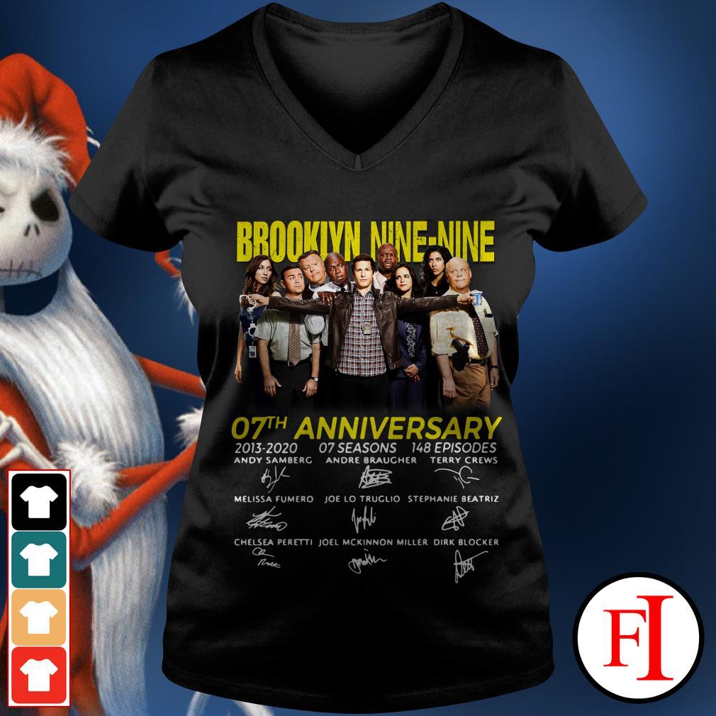 07th Anniversary Brooklyn Nine-Nine signatures V-neck t-shirt