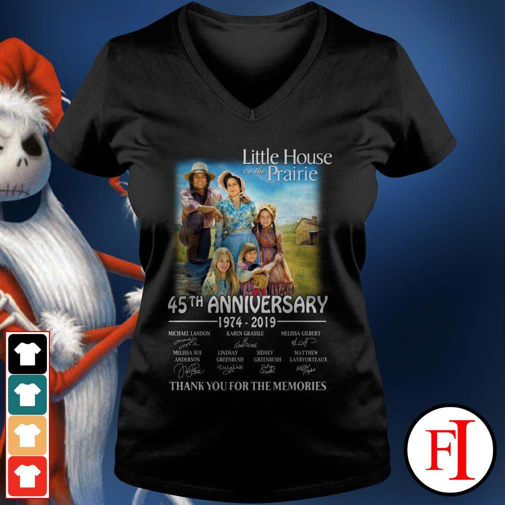 45th anniversary Little House on the prairie 1974-2019 thank you for the memories V-neck t-shirt