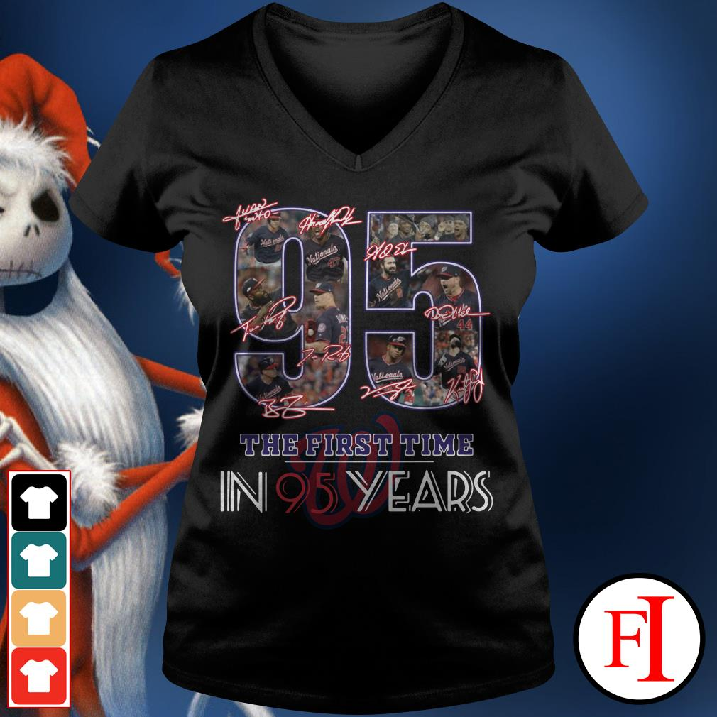 95 the first time in 95 years Washington Nationals V-neck t-shirt