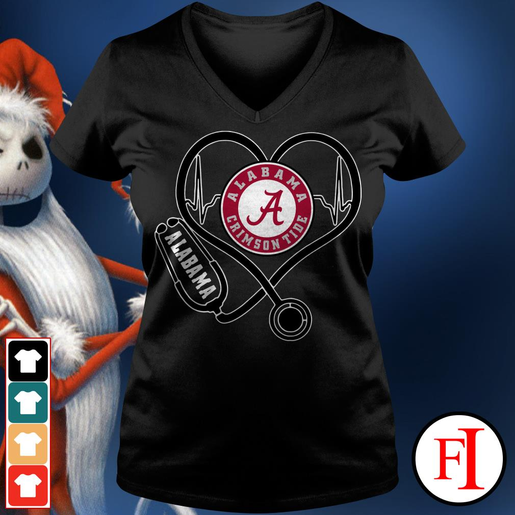 Alabama Crimson Tide Stethoscope V-neck t-shirt