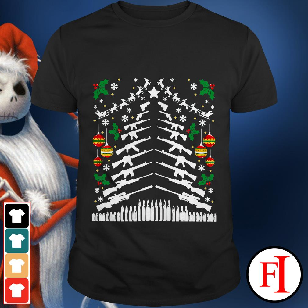 Assault Rifle Handgun Gun Christmas tree shirt