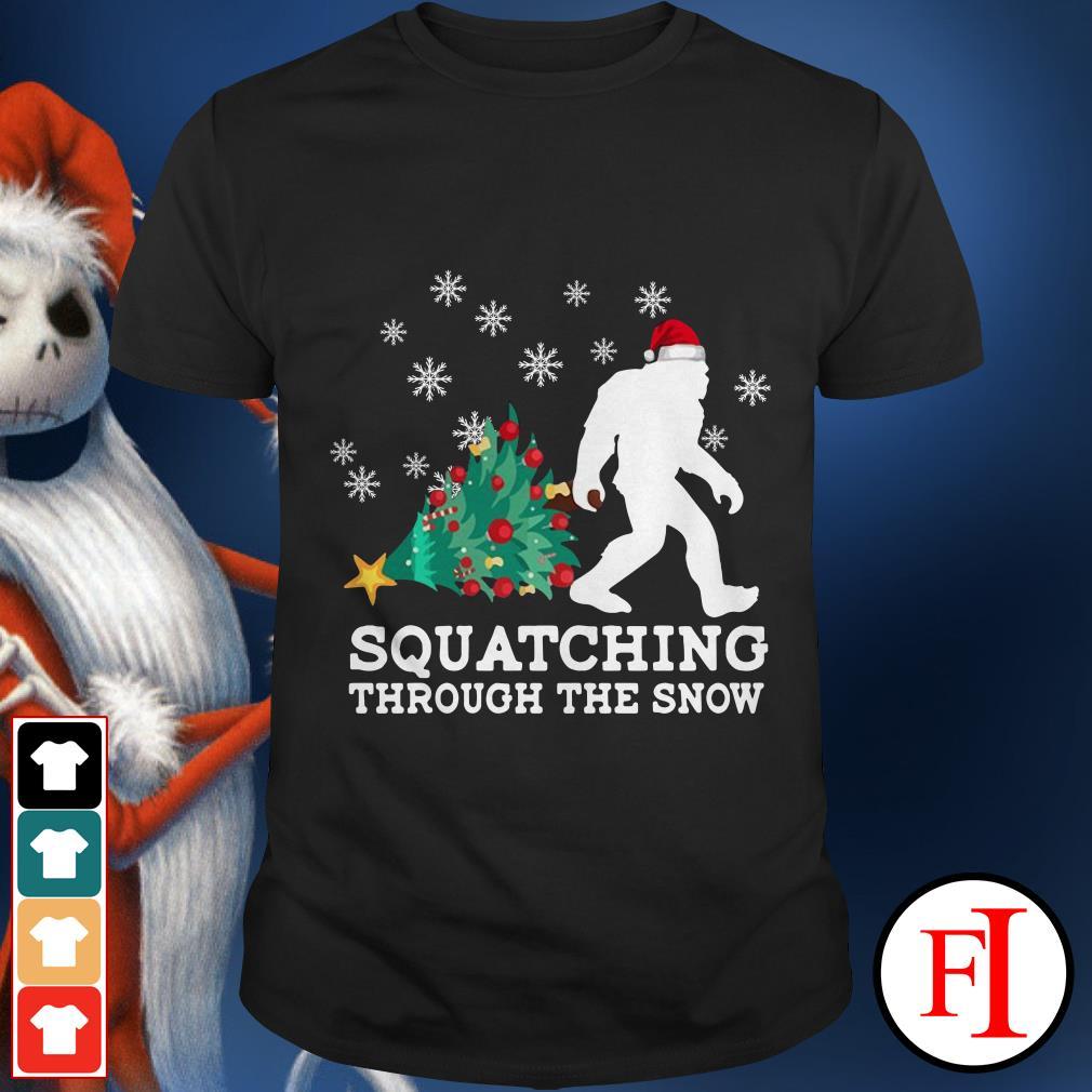 Bigfoot Santa Merry Christmas squatching through the snow shirt