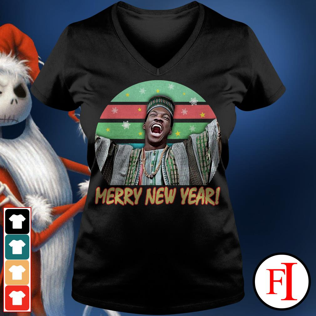 Billy Ray Valentine Merry New Year sunset V-neck t-shirt