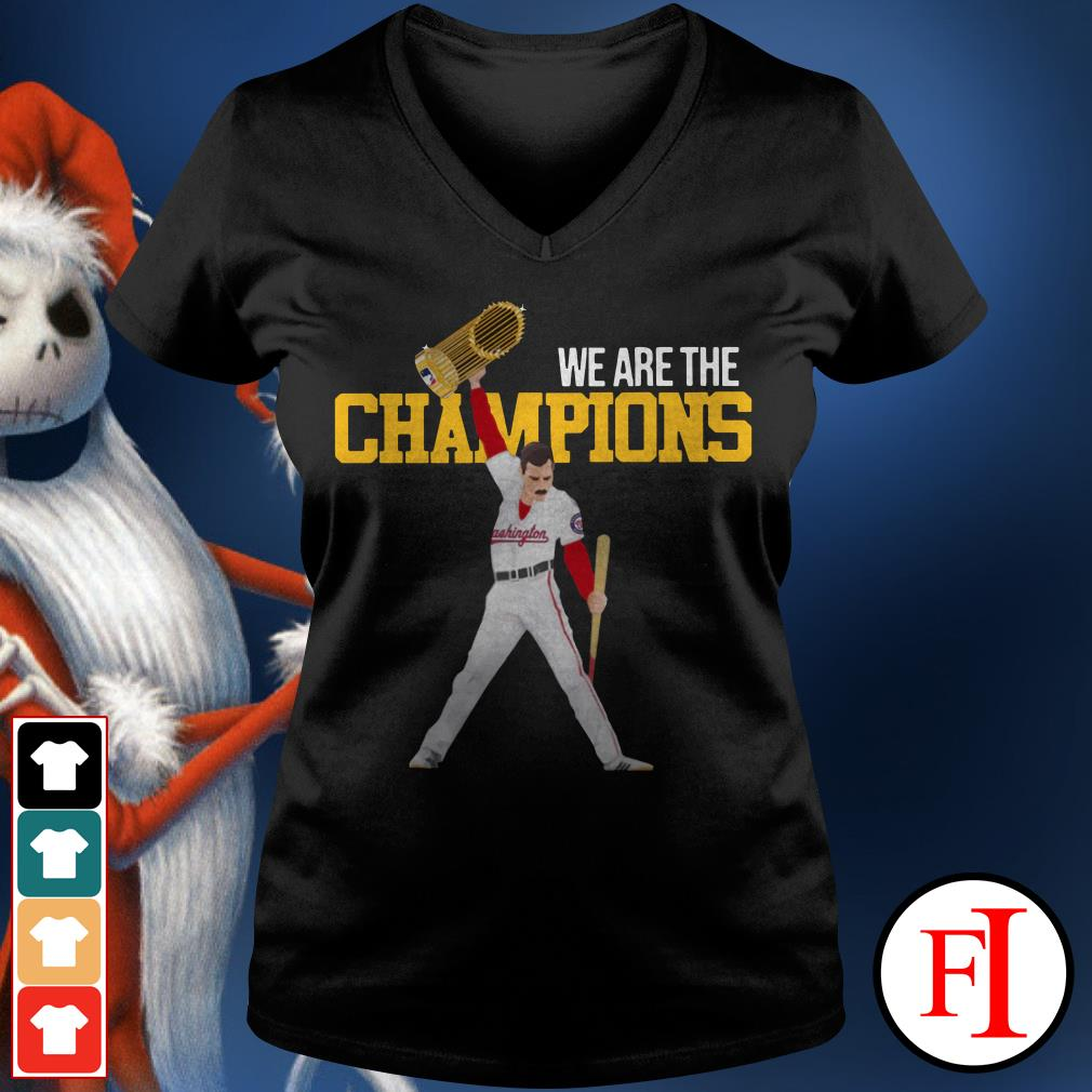 We are the champions Washington Nationals Freddie Mercury V-neck t-shirt